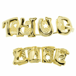 Thug Life Gold Teeth Grillz Set