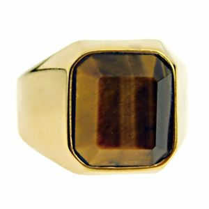 Gold Tiger Eye Stainless Steel Ring