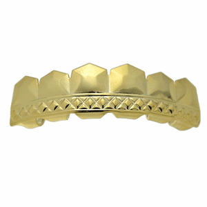 Gold Tombstone Top Teeth Grillz