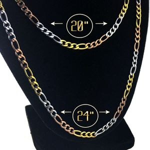 "Figaro Tri Tone Stainless Steel Chain 20""-24"""