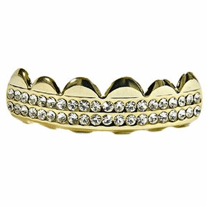 Gold 2 Row Bling Top Teeth Grillz