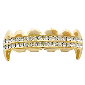 Gold 2 Row Bling Top Fang Grillz