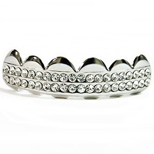 Silver 2 Row Bling Top Teeth Grillz