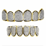 Premium CZ 2-Tone Teeth Grillz Set