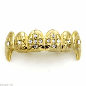 Gold Crosses Bling Top Fang Grillz