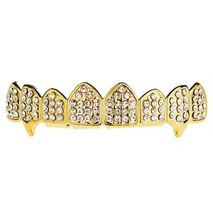 Gold Iced 8 Top Teeth Fang Grillz