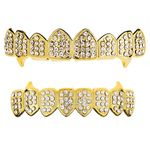 Gold 8/8 Iced Fang Vampire Grillz Set