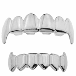 Silver Vampire Full Fangs Grillz Set