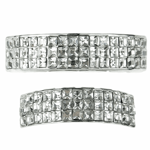 Silver 3-Row VIP Bling Grillz Set
