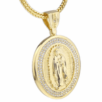 "Oval La Virgen 36"" Gold Franco Chain"