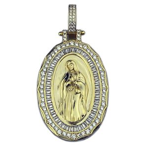 Holy Mary Gold 925 Silver Pendant 2""