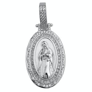 Holy Mary 925 Silver Oval Pendant 1.25""