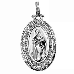 Holy Mary 925 Silver Pendant 2""