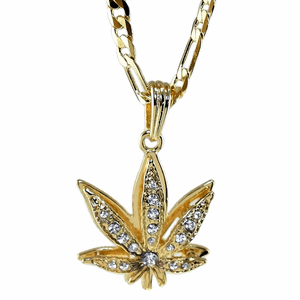 "Weed Leaf Gold 24"" Figaro Chain"