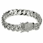 "White Gold Plated CZ Bracelet 8""x12MM"