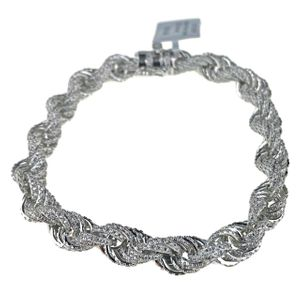 "14K White Gold Plated CZ Rope Bracelet 8.5"" x 8MM"