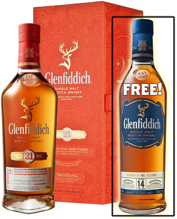 Glenfiddich 21 Year Old with FREE Glenfiddich 14 Bourbon Cask Scotch!