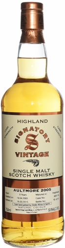 Signatory Aultmore 9 Year Old Cask Strength Single Malt Whisky 2005