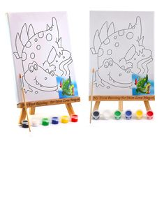 2 Canvas & Wooden Painting Easel Set