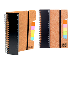 2 Eco Friendly Cork Notebooks w/ Ruler Flags & Sticky Notes