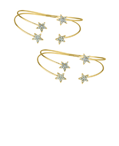 2 Open Bangles with Crystal Stars