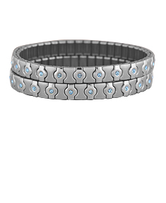 2 Stainless Steel Bracelets with Blue Stones