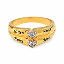 14K Gold Over Sterling Silver 2 Diamond Accents Ring