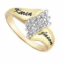 14K Gold Over Silver Couple's Diamond Accent Ring