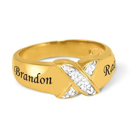 14K Gold Over Silver Couples Diamond Accent Ring