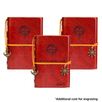 3 Classic Leatherette Writing Journals with Compass Embossing