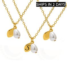 3 Pearl Drop Necklaces With Initial Option