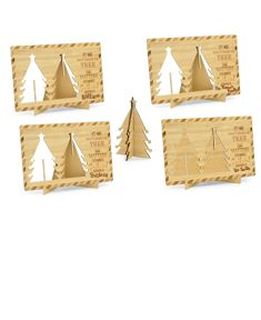 4 Christmas Tree Wooden Postcards