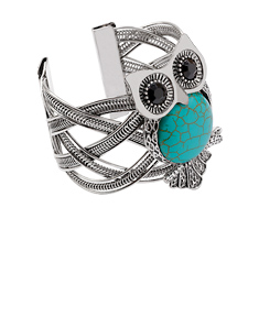 Alloy & Turquoise Stone Owl Bangle