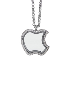 Apple Locket with Zirconia Crystals and 4 Floating Motifs