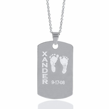 Baby Footprint & DOB Rectangular Plate