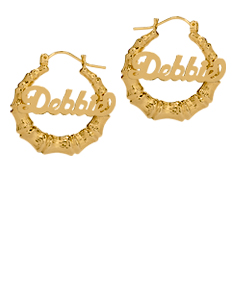 Bamboo Name Hoop Earring