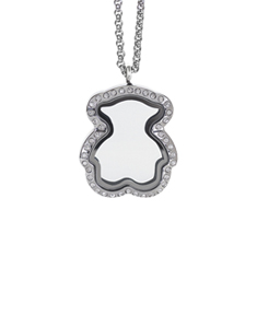 Bear Locket with Zirconia Crystals and 4 Floating Motifs