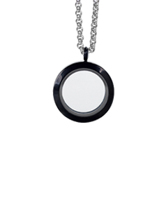 Black Circle Locket with 4 Floating Motifs