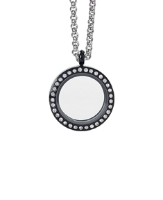 Black Circle Locket with Zirconia Crystals and 4 Floating Motifs