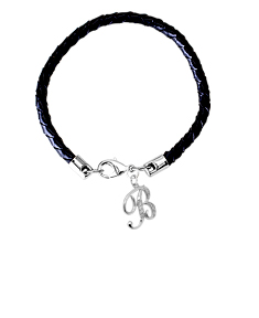 Braided Leather Bracelet with Initial