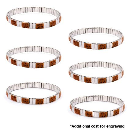 6 Sterling Silver Elastic Bracelets with Dots