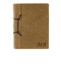 Brown Antiqued Leather Notebook with Initials