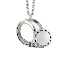 Circle Locket with 2 Motifs and Engravable Stainless Steel Circle
