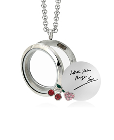Circle Locket with 2 Motifs and Signature Engravable Stainless Steel Disc