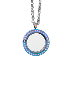 Circle Rainbow Locket with Zirconia Crystals and 4 Floating Motifs