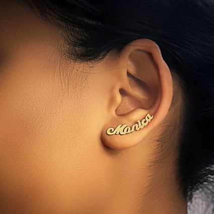 Climber Name Earrings