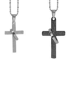 Couple Engraved Cross with Ring Pendants