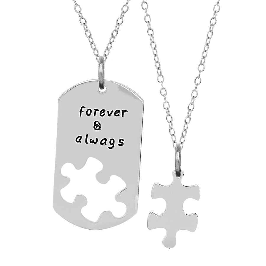 Couple Forever Always Puzzle Pendants