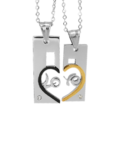 Heart Shape Couple Pendants With Stones