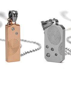 Couple Fingerprint Pendants with Stones